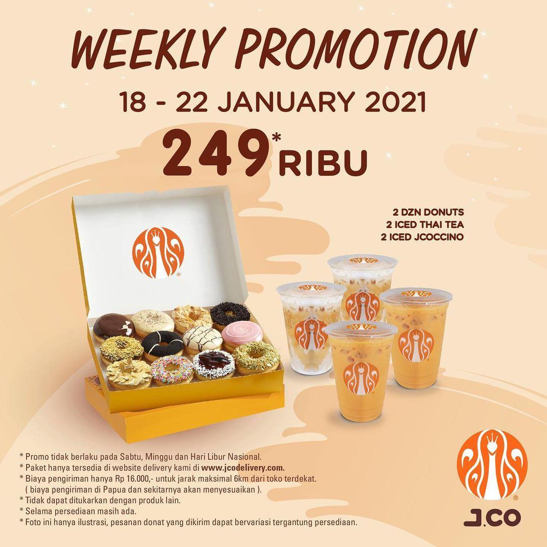 Promo JCO Minggu Ini   Weekly Promotion - Harga Spesial 2 lusin donuts + 2 Iced Thai Tea + 2 Iced JCOCCINO Hanya Rp 249.000