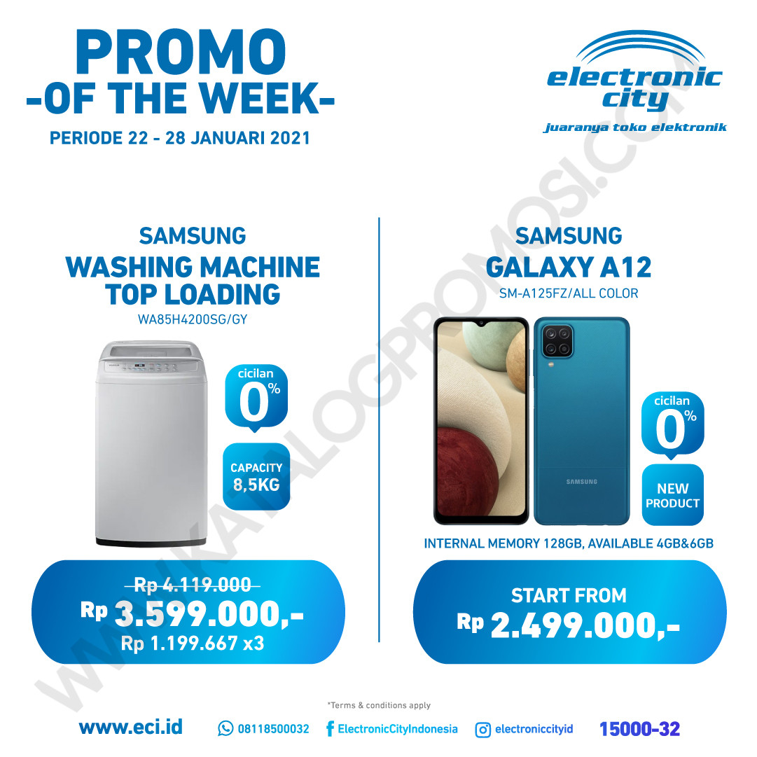 ELECTRONIC CITY Promo HOT DEAL OF THE WEEK PERIODE 22-28 Januari 2021