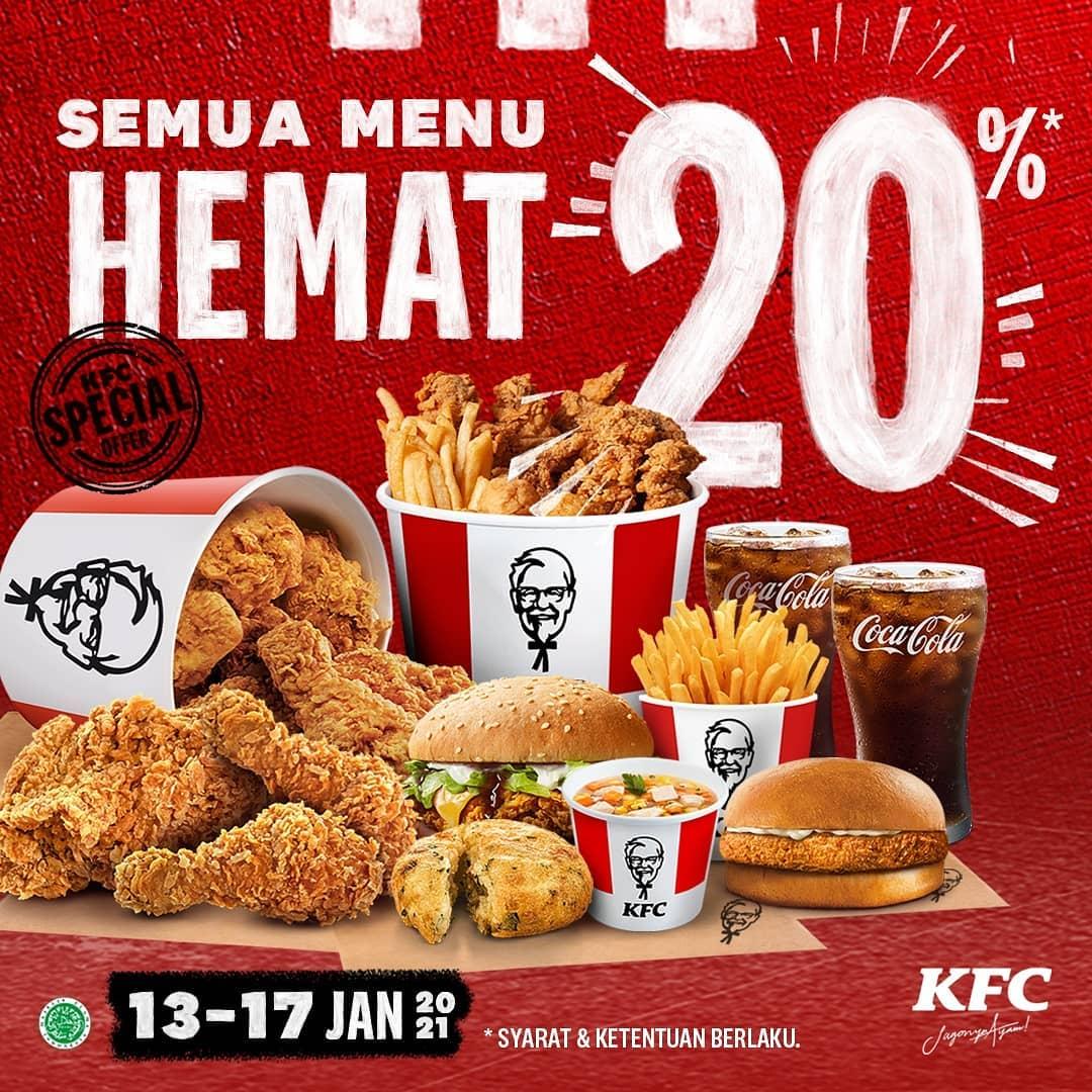Promo KFC Minggu ini - DISKON 20% ALL ITEMS