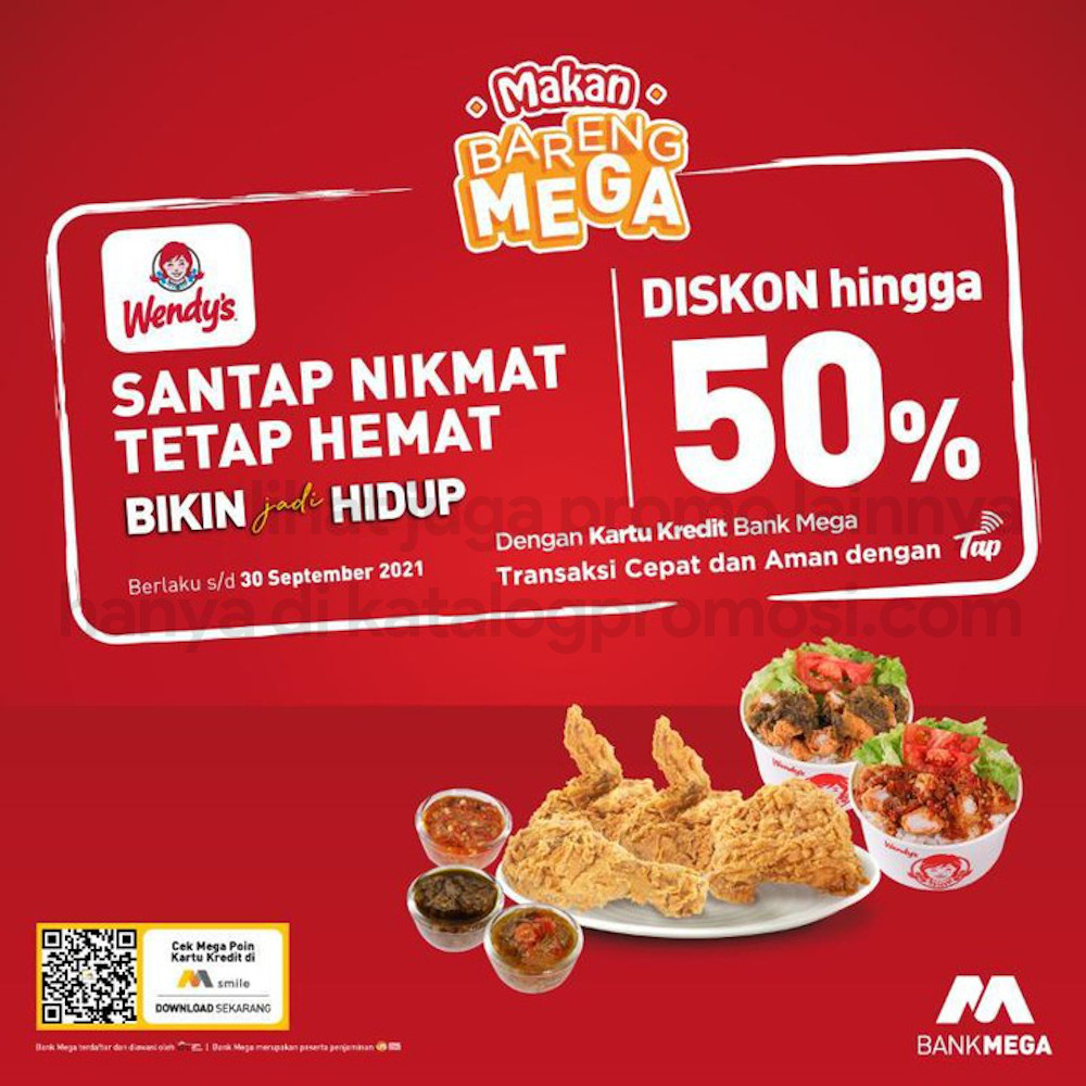 Promo WENDYS Diskon 50% khusus untuk transaksi dengan Kartu Kredit Bank Mega