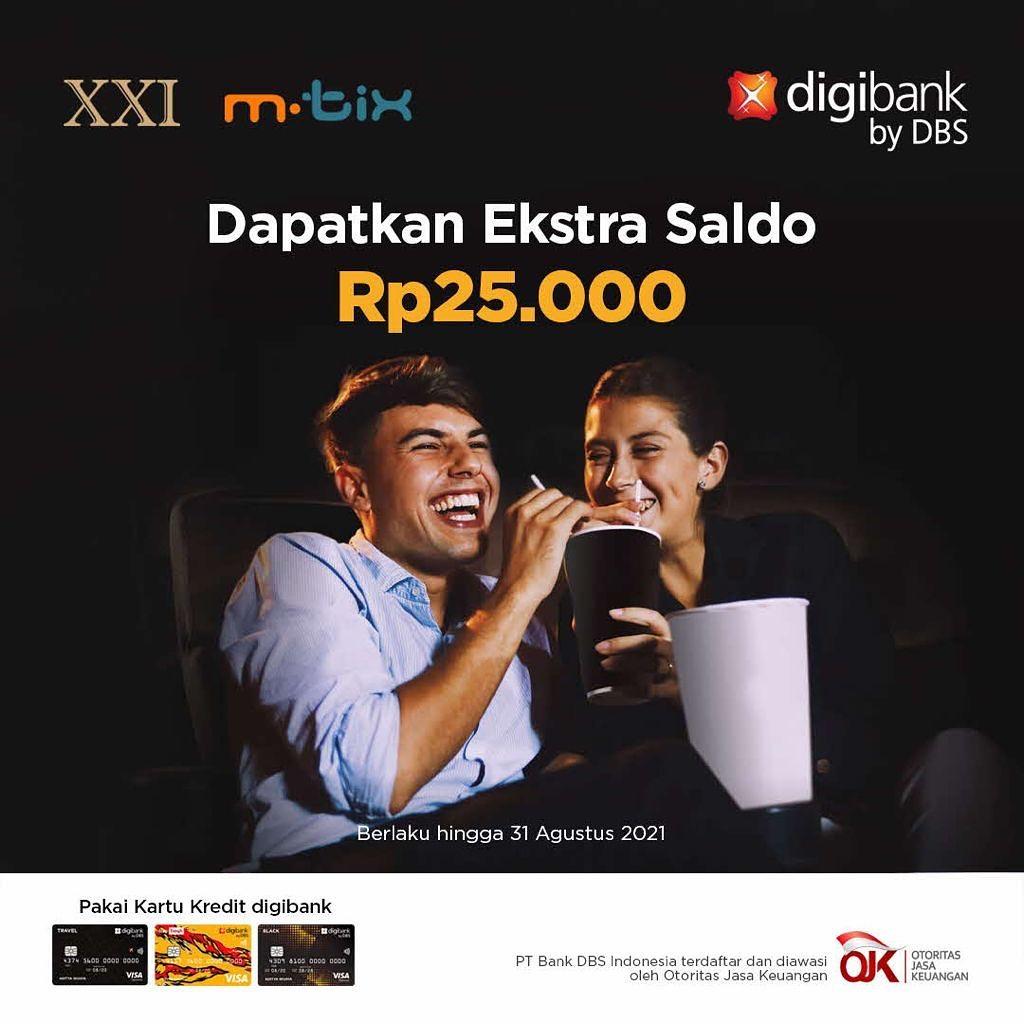 CINEMA XXI Promo TOP UP M-Tix Dapatkan Bonus Rp 25.000 dengan Kartu Kredit Digibank