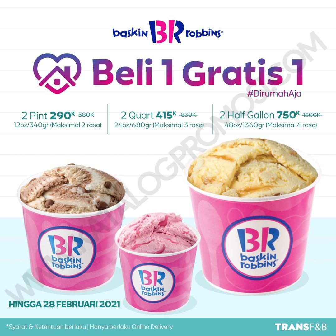 Promo Baskin Robbins BELI 1 GRATIS 1 untuk FRESHPACK di perpanjang sd. tanggal 28 Februari 2021