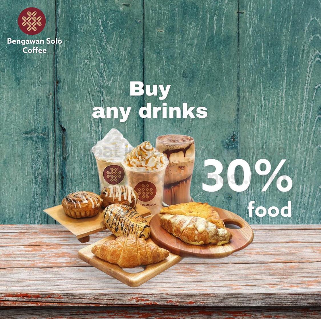 BENGAWAN SOLO COFFEE Promo DISKON 30% untuk makanan setiap pembelian MINUMAN