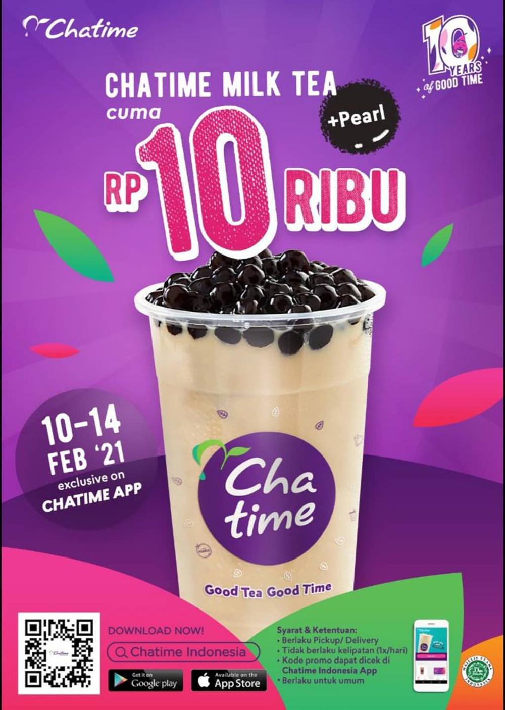 Promo Chatime Harga Spesial Chatime Milk Tea + Pearl Cuma Rp 10ribu khusus pemesanan via Aplikasi Chatime*
