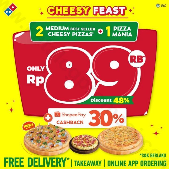 Promo DOMINO'S PIZZA Cheesy Feast - Beli 2 Medium HT Best Seller 'CHEESY