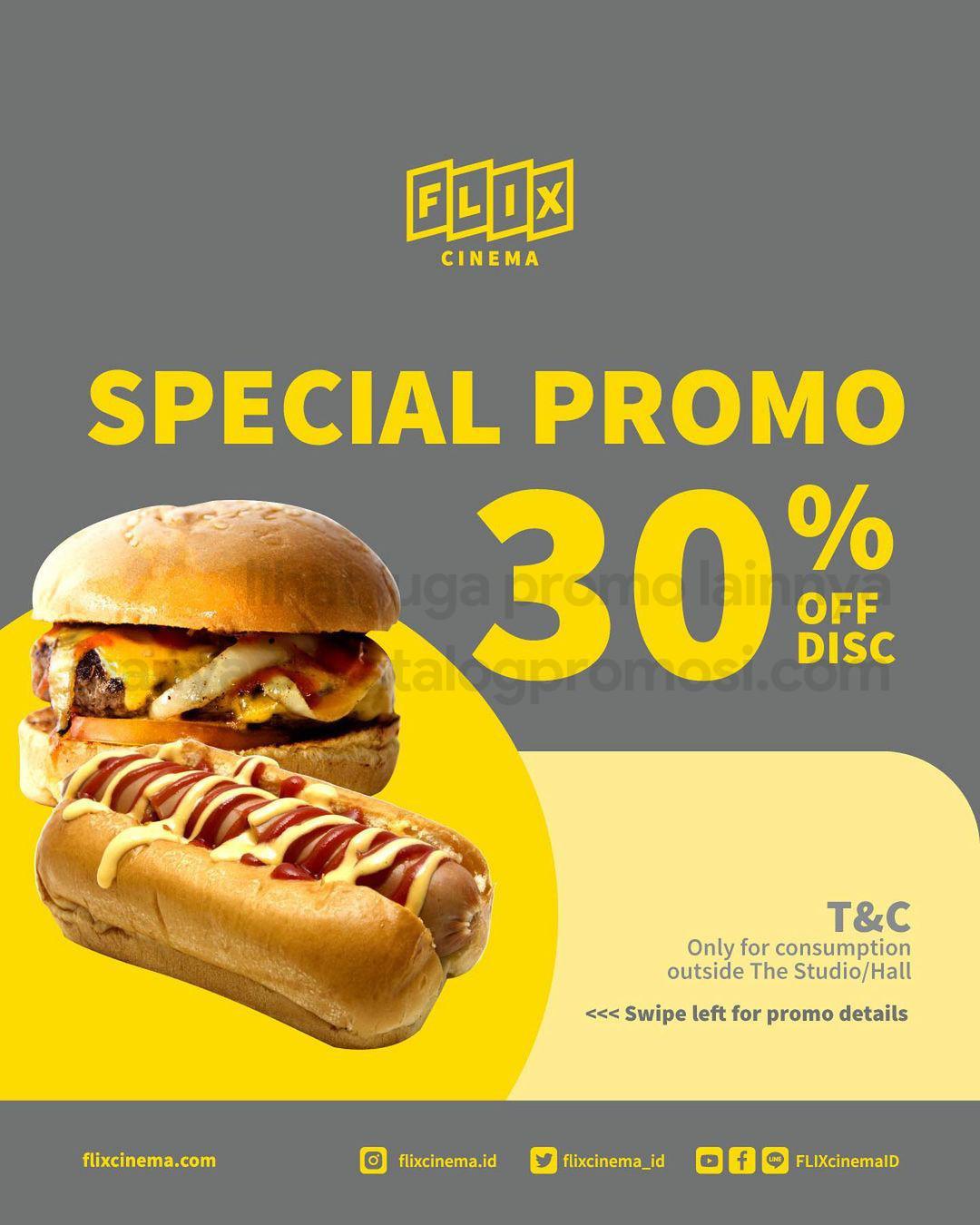 Promo FLIX CINEMA Special Promo Diskon 30% dari FLIX Cravings