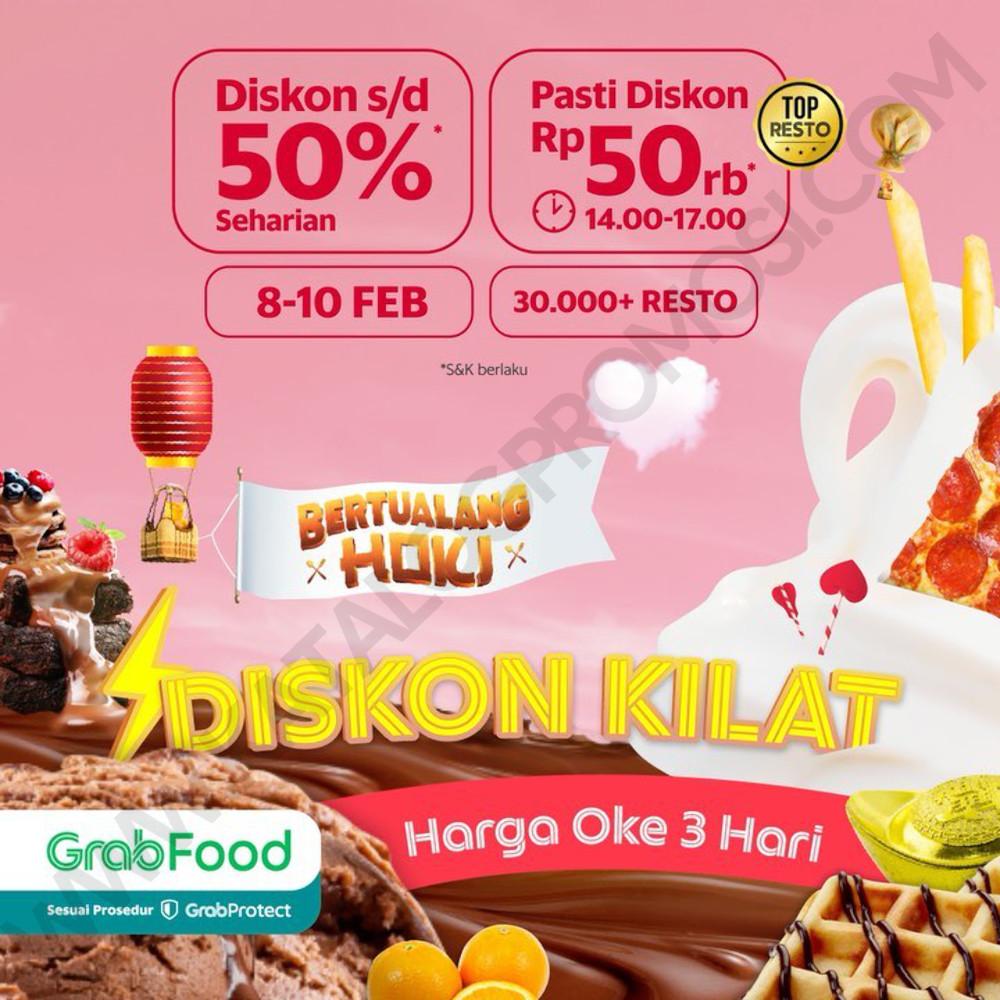 Promo GRABFOOD Diskon Kilat HOKI - SERBA DISKON Rp. 50.000 dan DISKON hinga 50% SEHARIAN