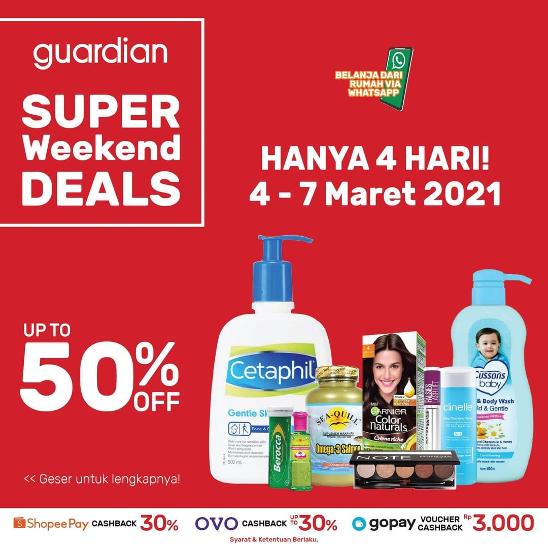 Promo GUARDIAN Super Weekend Deals up to 50% off periode 04-07 Maret 2021