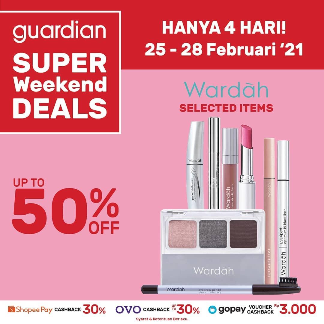 Promo GUARDIAN Super Weekend Deals up to 50% off periode 25-28 Februari 2021