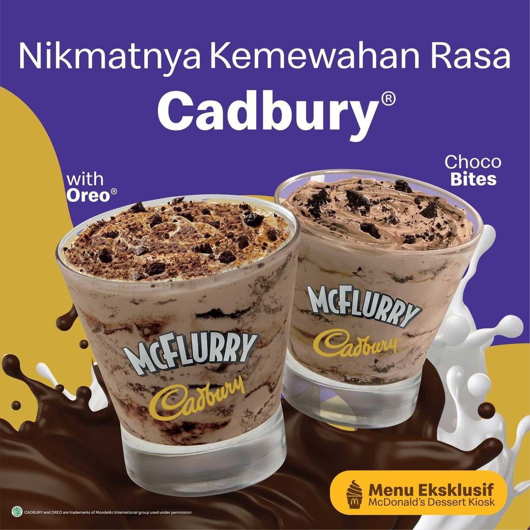 BARU! McDonalds Cadbury McFlurry dengan pilihan topping Oreo atau Choco Bites