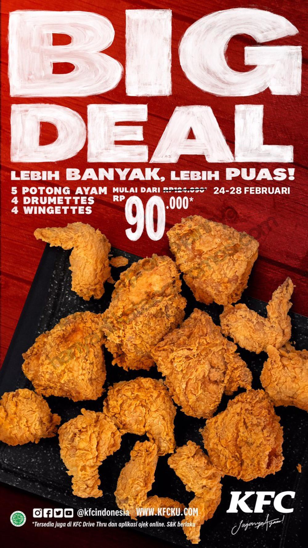 Promo KFC BIG DEAL - Beli 12 pcs ayam mulai Rp. 90.000 aja berlaku tanggal 24-28 Februari 2021