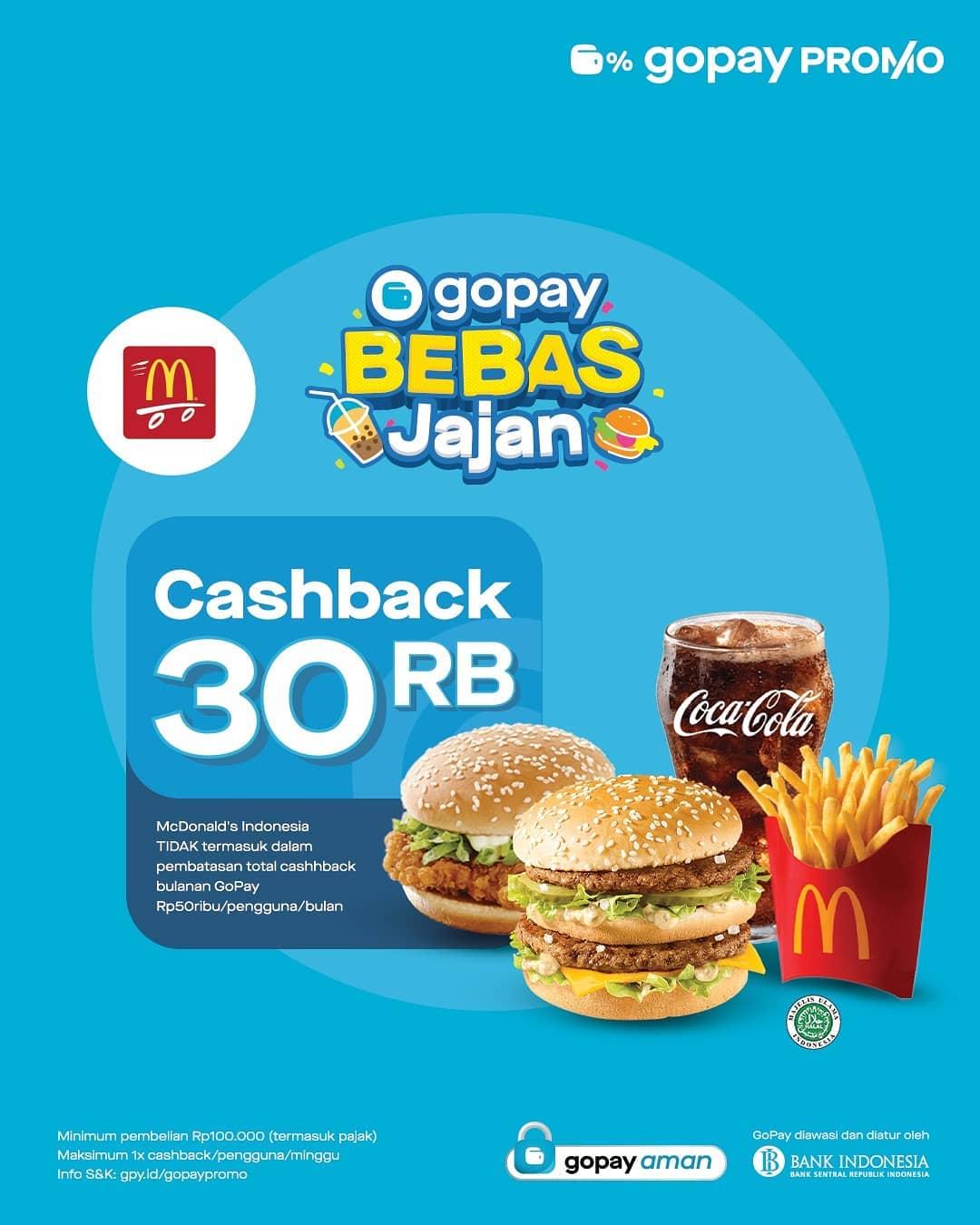 Promo McDonalds CASHBACK Rp. 30.000 khusus pembayaran dengan GOPAY