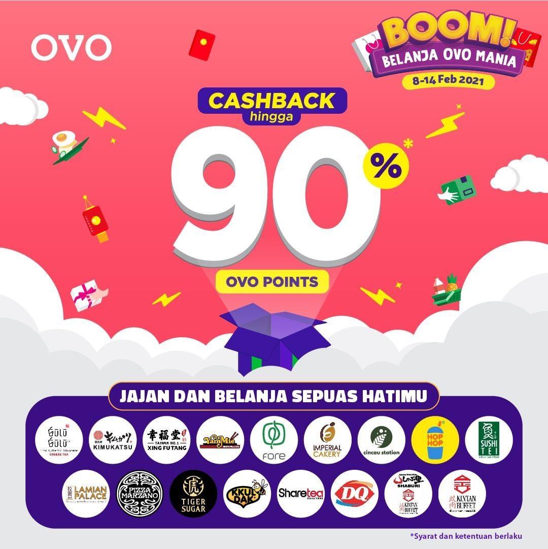 Promo OVO BOOM MANIA! CASHBACK hingga 90%