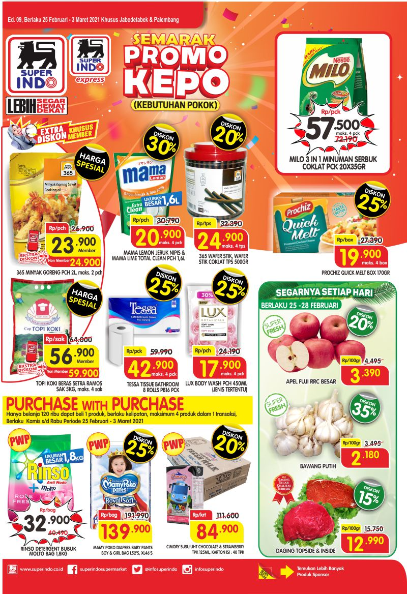 Promo Superindo Katalog Belanja Mingguan periode 25 Februari - 03 Maret 2021