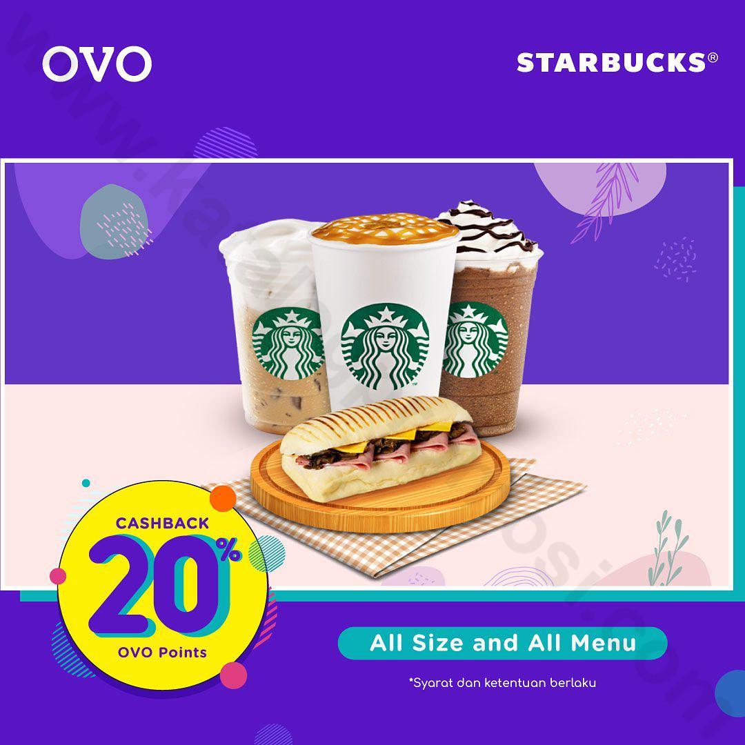 Promo STARBUCKS OVO – Cashback 20% SETIAP HARI khusus transaksi pakai OVO
