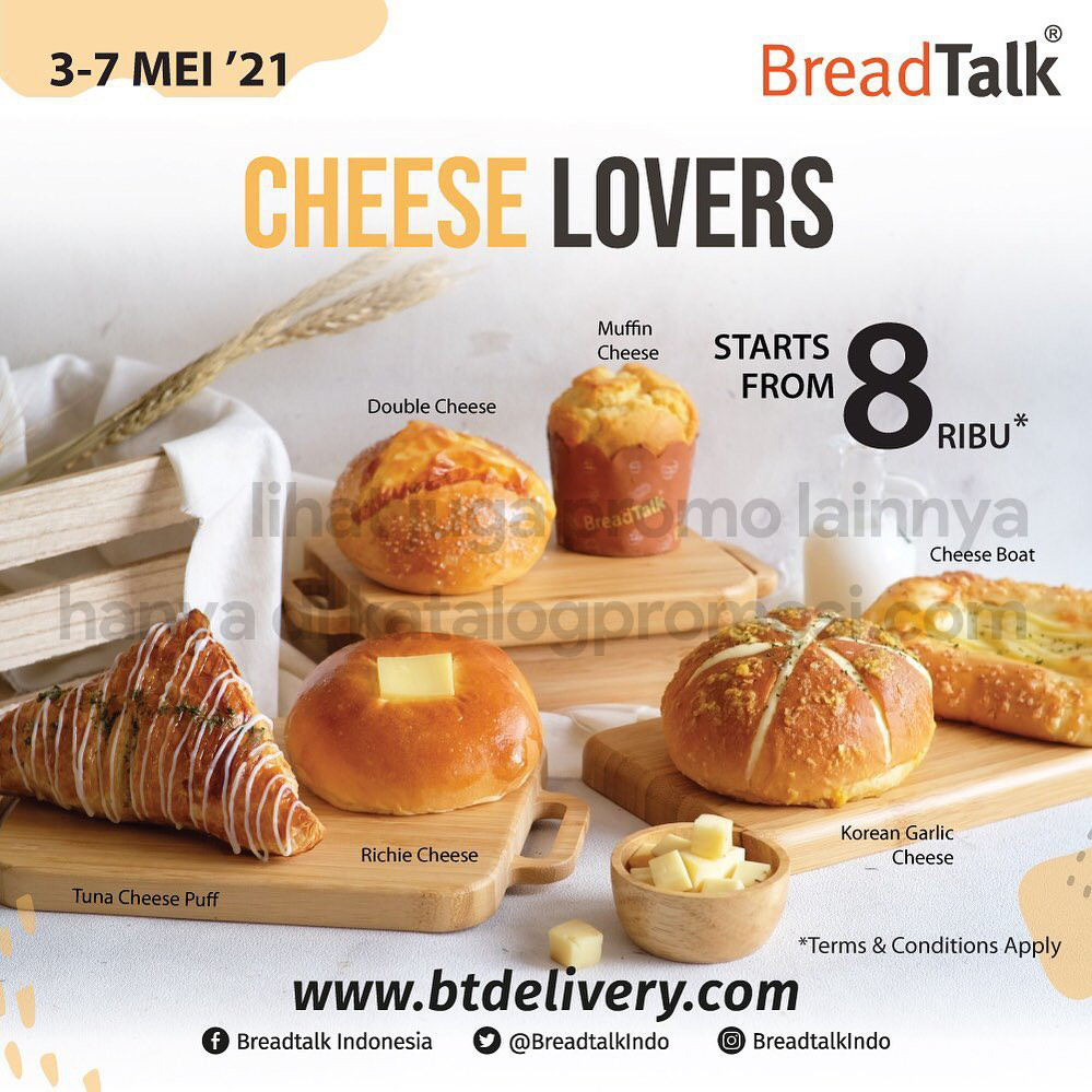 Promo BREADTALK CHEESELOVERS WEEK! All Cheese Bread start from Rp. 8.000