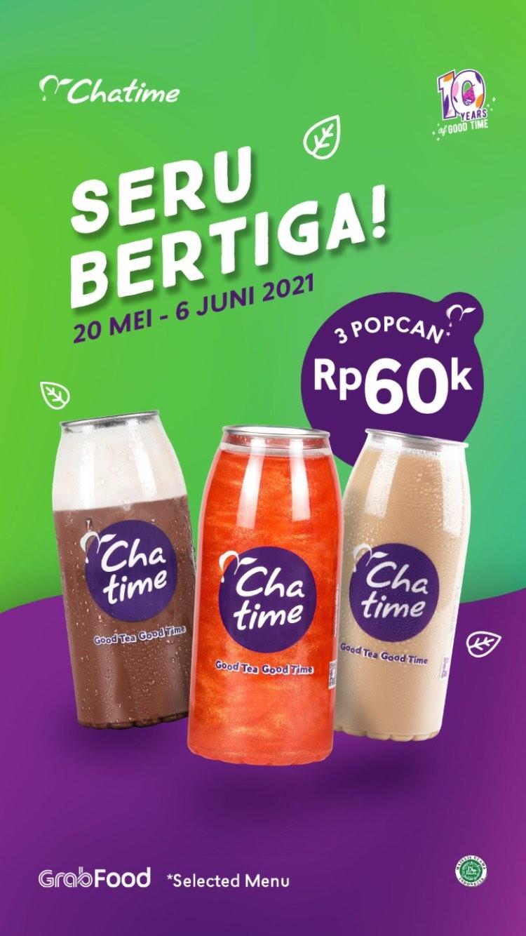 CHATIME Promo BELI 3 POPCAN cuma Rp. 60.000