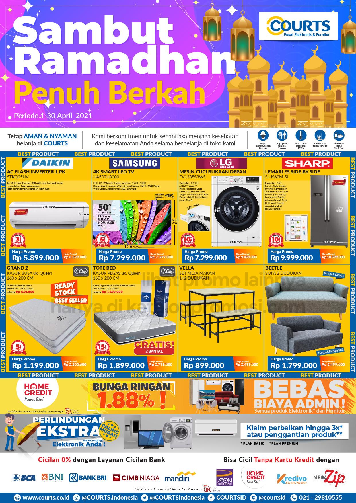 Katalog Promo COURTS SAMBUT RAMADHAN PENUH BERKAH periode 01-30 April 2021