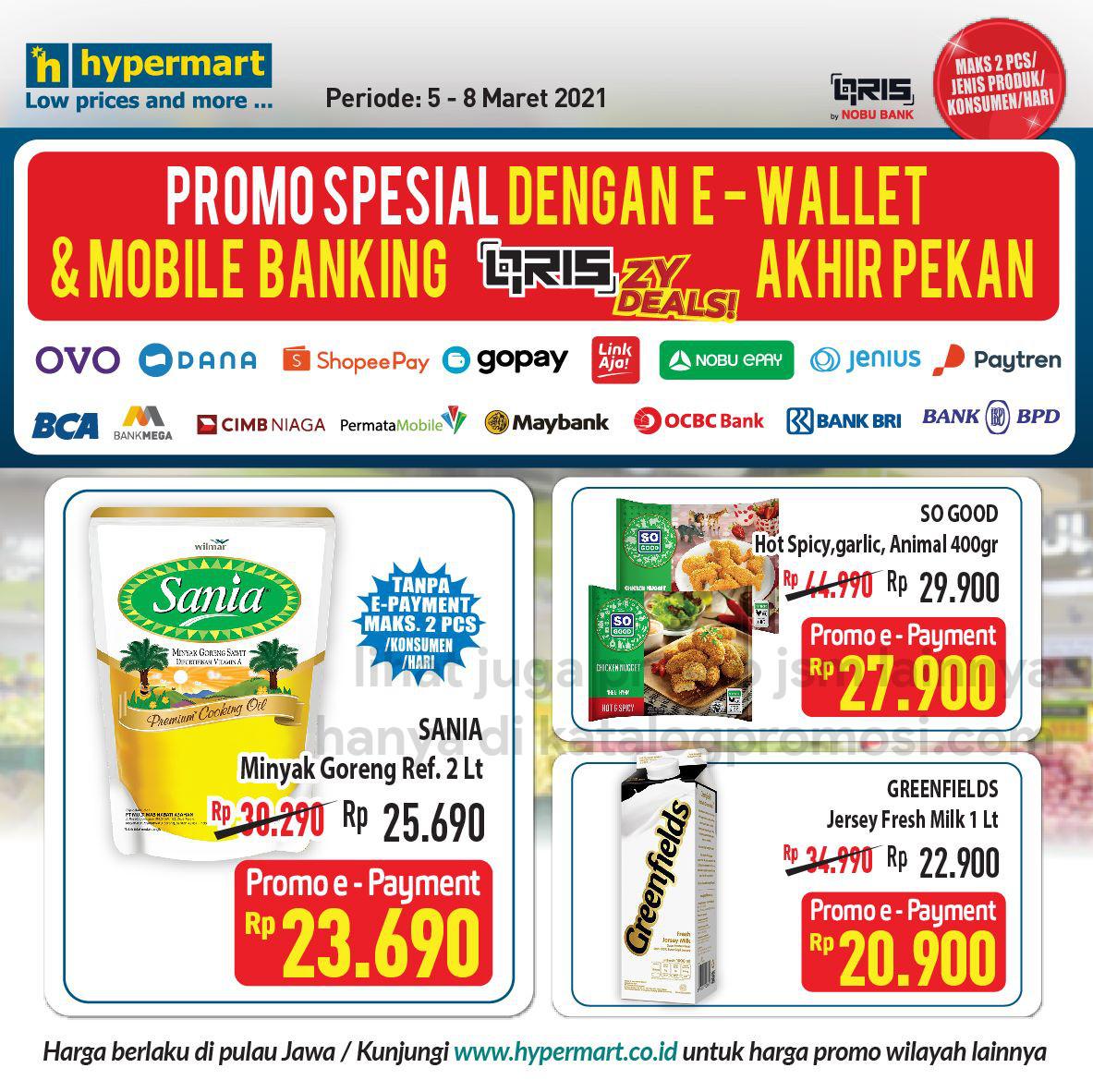 HYPERMART Promo HARGA SPESIAL bayar pakai E-Wallet dan Mobile Banking periode 05-08 Maret 2021