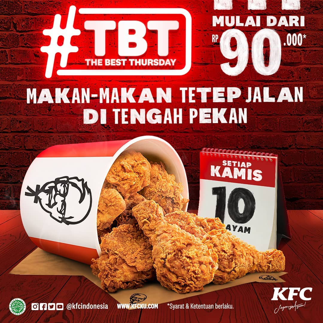 Promo KFC THE BEST THURSDAY - Paket 10 Potong Ayam cuma Rp. 90.000