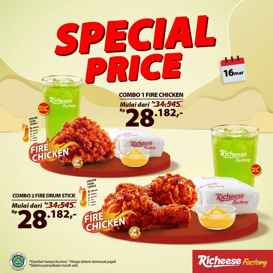 Promo RICHEESE FACTORY TERBARU - Spicy Treats! Harga Spesial mulai Rp. 28.182 berlaku mulai tanggal 16-17 Maret 2021