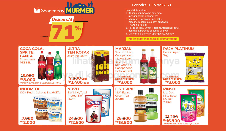 ALFAMART Promo SHOPEEPAY MURMER! Belanja pakai ShopeePay dapat Ekstra Potongan berlaku untuk periode 01-15 Mei 2021