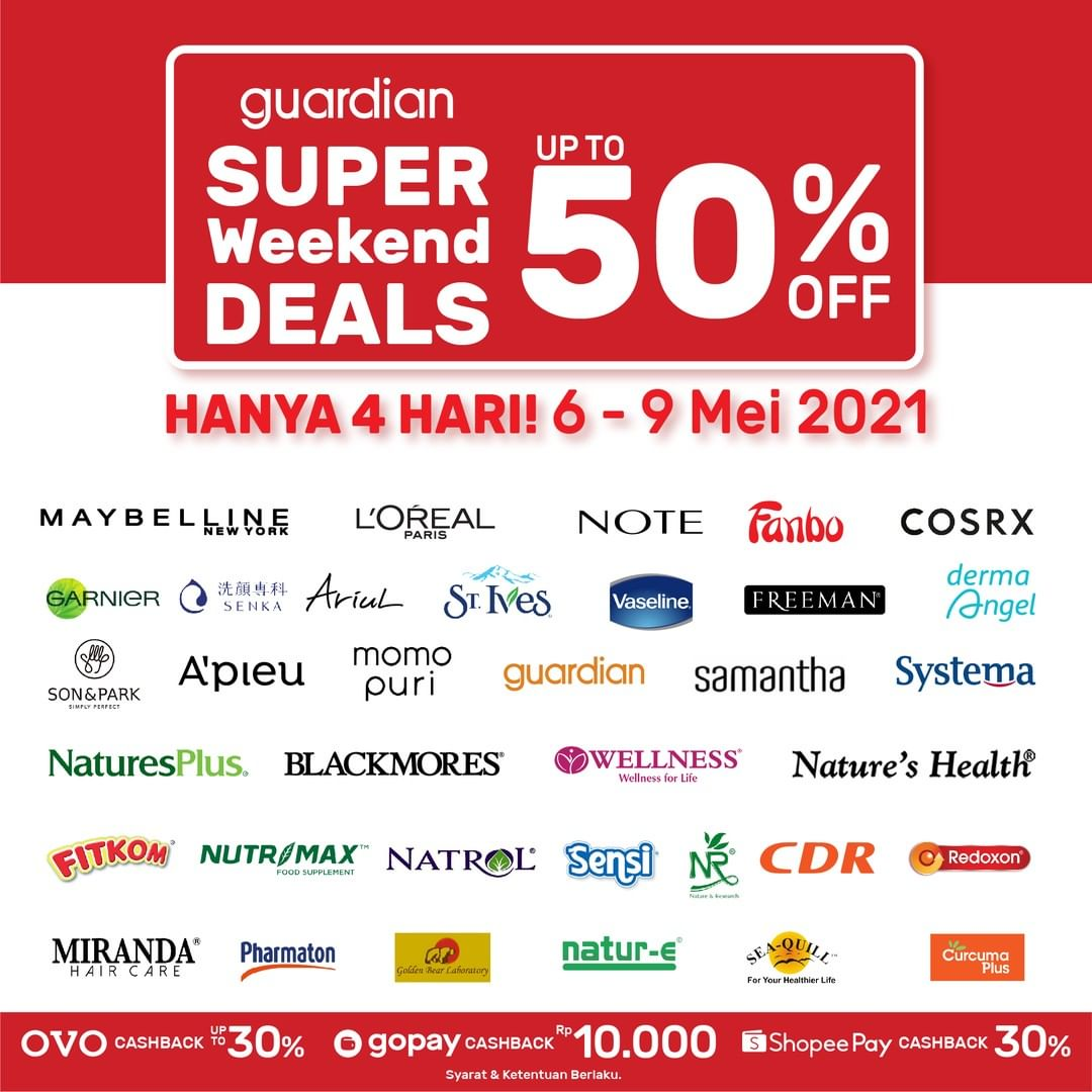 Promo GUARDIAN Super Weekend Deals up to 50% off periode 06-09 Mei 2021