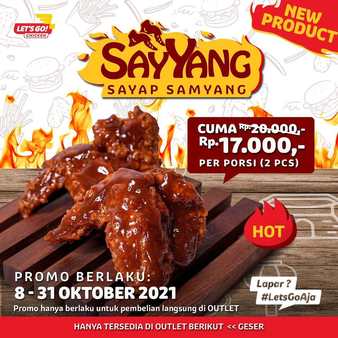 Promo LET'S GO! CHICKEN MENU BARU! Sayyang / Sayap Samyang cuma Rp. 17.000 per porsi