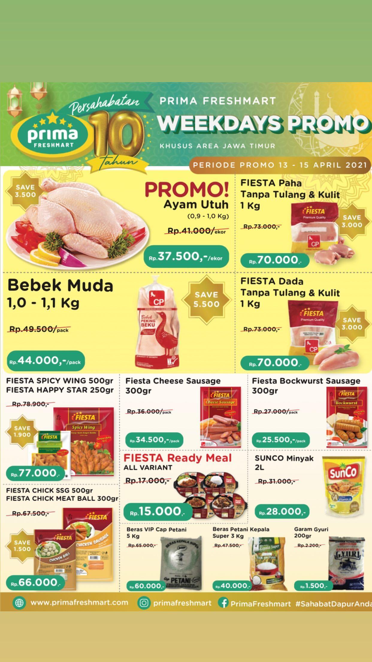 Promo Prima Freshmart Terbaru - Katalog Belanja Weekday periode 13-15 April 2021