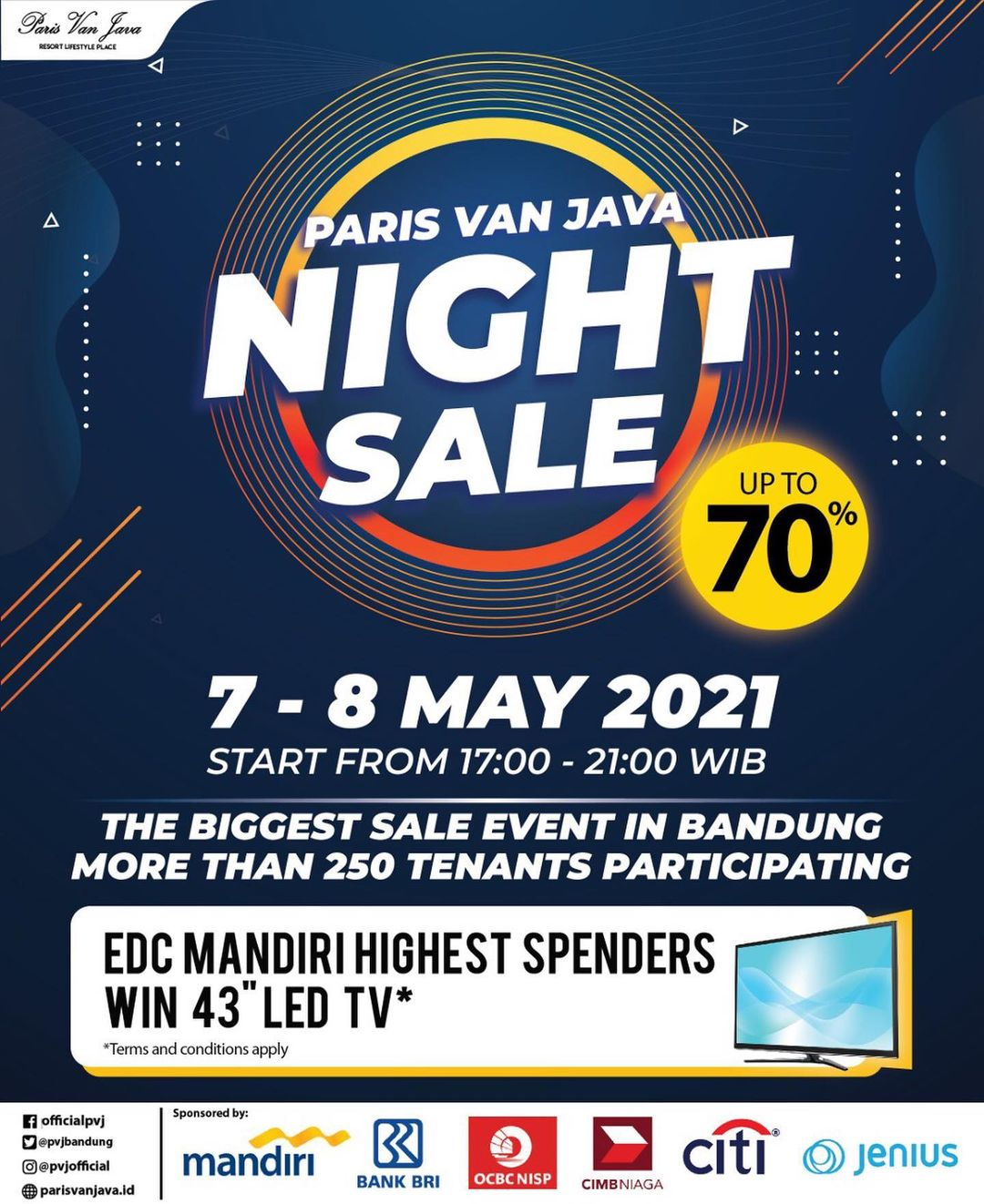 Paris Van Java NIGHT Sale - Discount up to 70% off BERLAKU hanya 2 hari, tanggal 07-08 Mei 2021