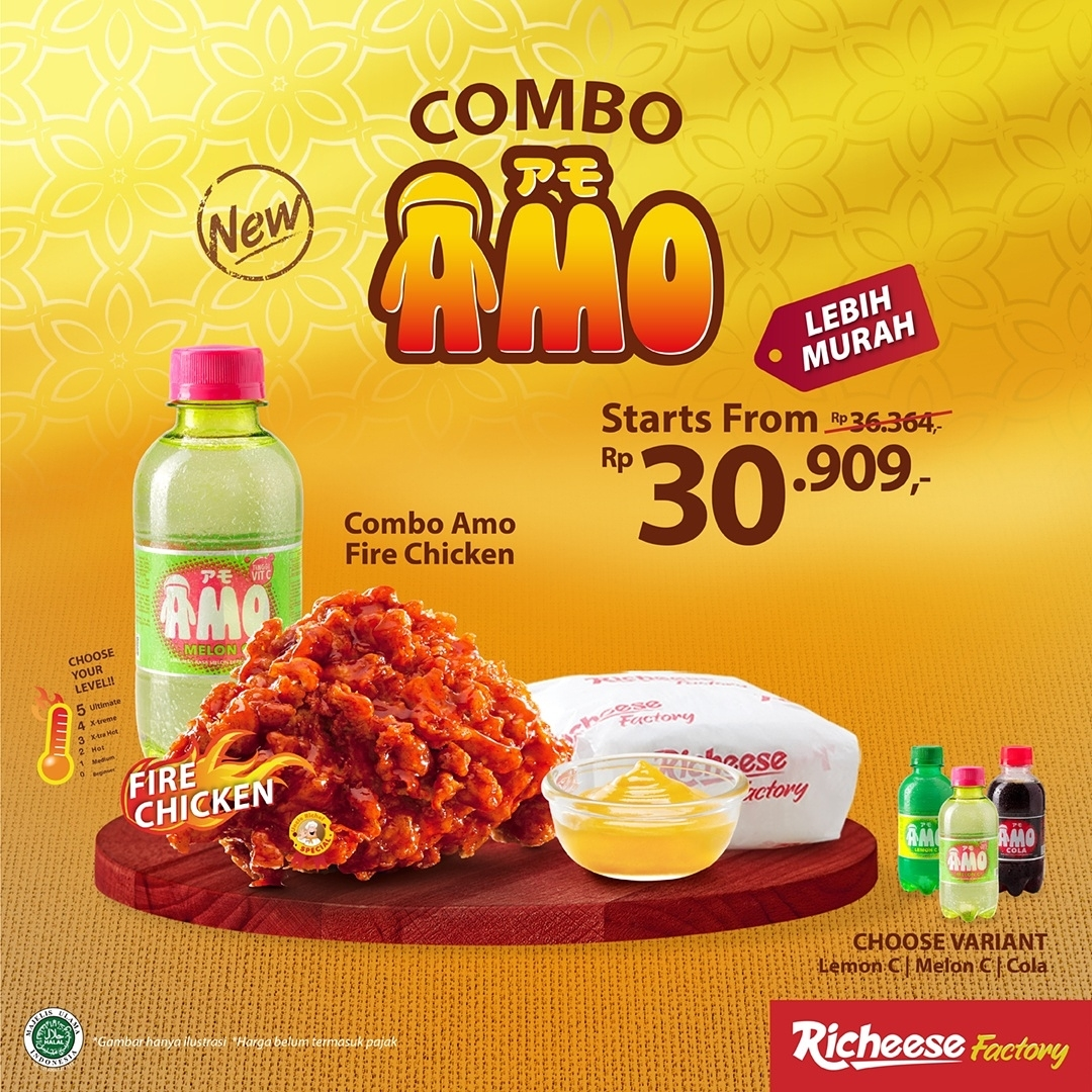 Promo RICHEESE FACTORY COMBO AMO Fire Chicken mulai dari Rp. 30.909