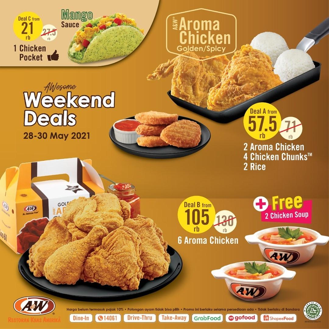 <div>Promo A&W WEEKEND DEALS – Paket Aroma Chicken Golden/ Spicy Mulai Dari Rp 57.500</div>