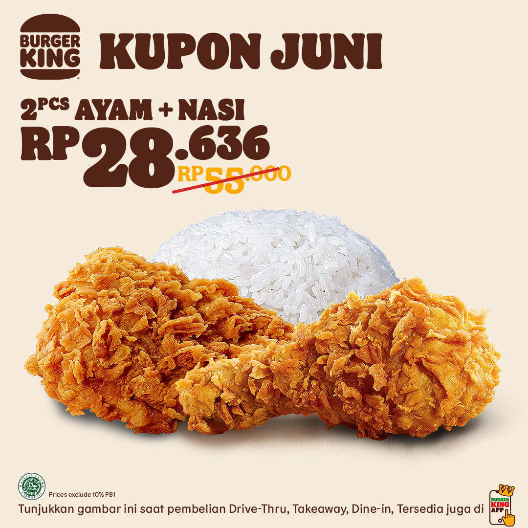KUPON BURGER KING khusus untuk bulan JUNI 2021