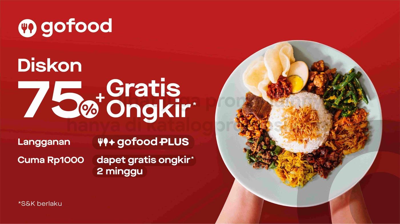 Promo Gojek x Tokopedia - Kolaborasi Anak Bangsa dari GoFood - Diskon 75% + Gratis Ongkir* dan GoFood Plus cuma Rp1.000