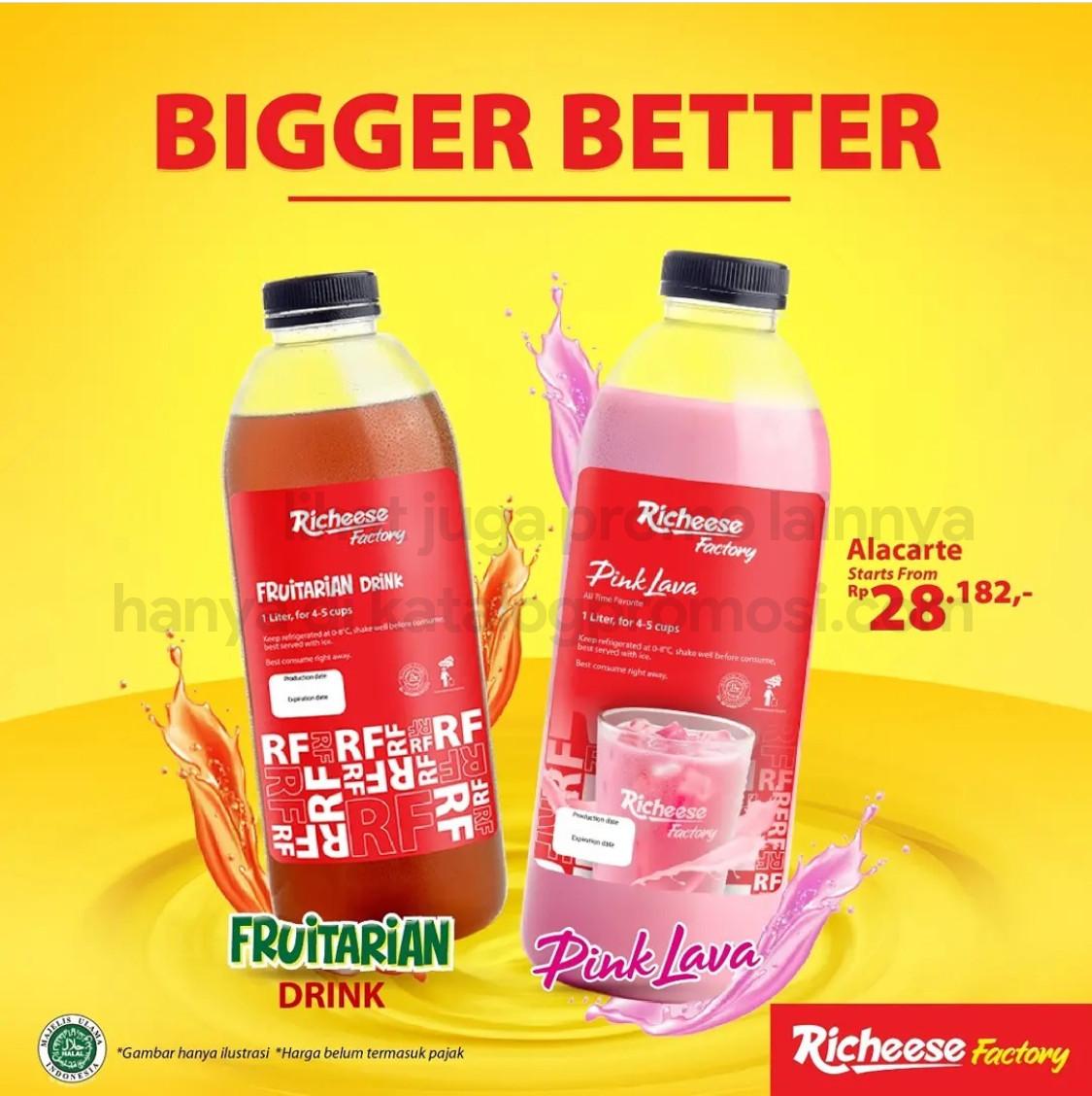 RICHEESE FACTORY Promo BIGGER BETTER - Pink Lava/ Fruitarian Drink 1L Harga Mulai Dari Rp 28.182