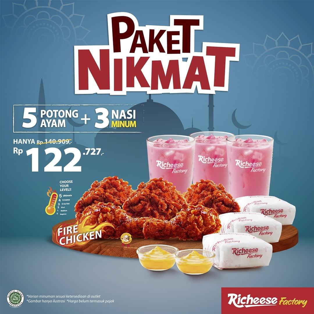 Promo RICHEESE FACTORY Paket NIKMAT – 5 Potong Ayam + 3 Nasi + 3 Minum mulai Rp. 122.727