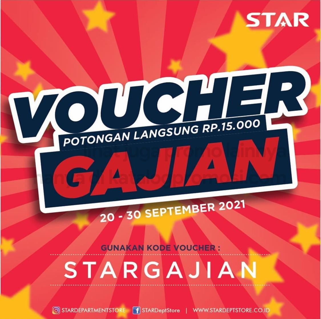 Promo Star Department Store VOUCHER GAJIAN! Dapatkan Potongan langsung Rp 15.000 khusus pembelian website