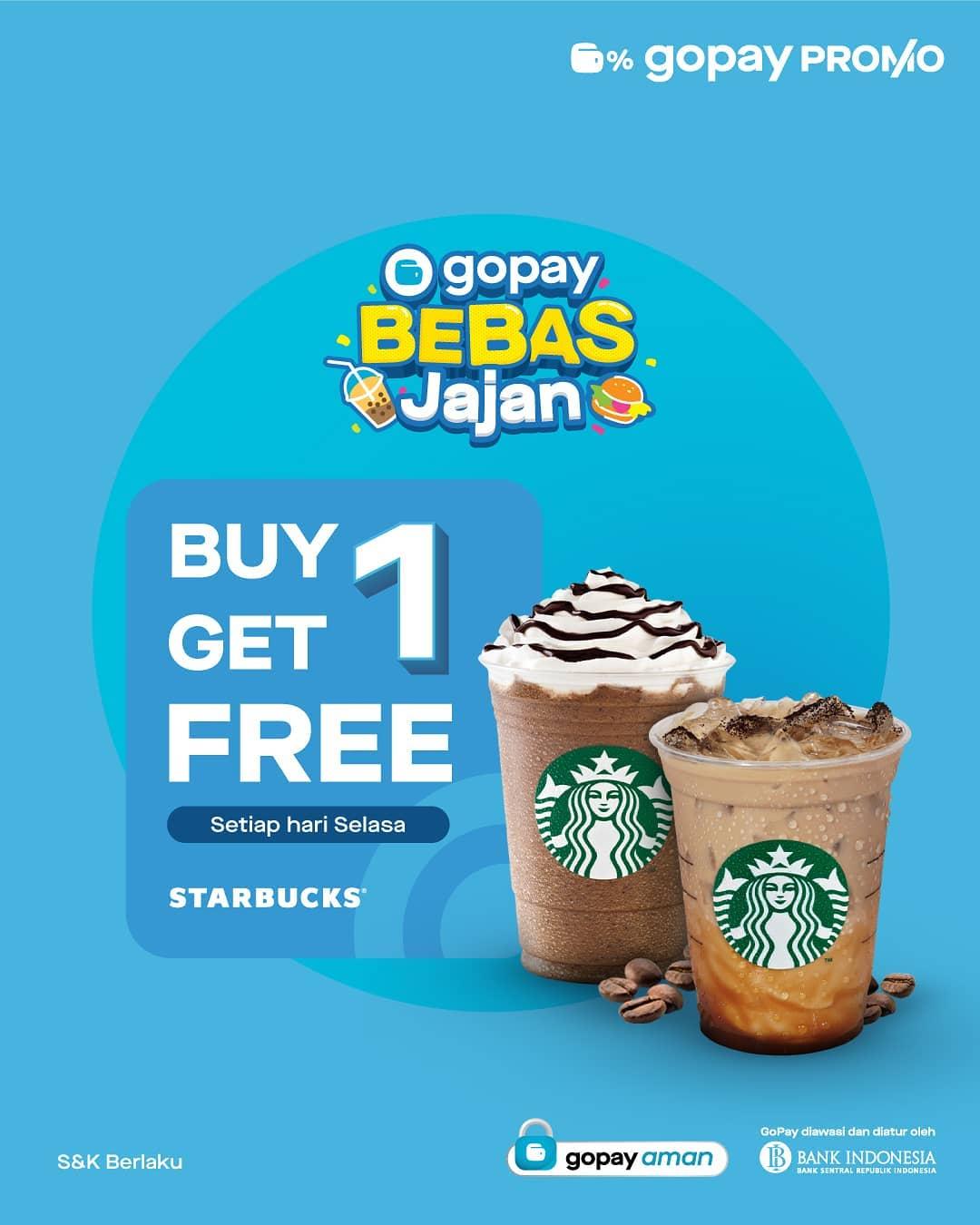 Promo STARBUCKS BELI 1 GRATIS 1 khusus untuk transaksi dengan GOPAY