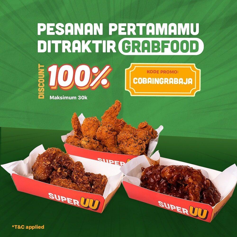 Promo SUPERWINGS DISKON hingga 100% khusus pemesanan pertama USER BARU via GRABFOOD