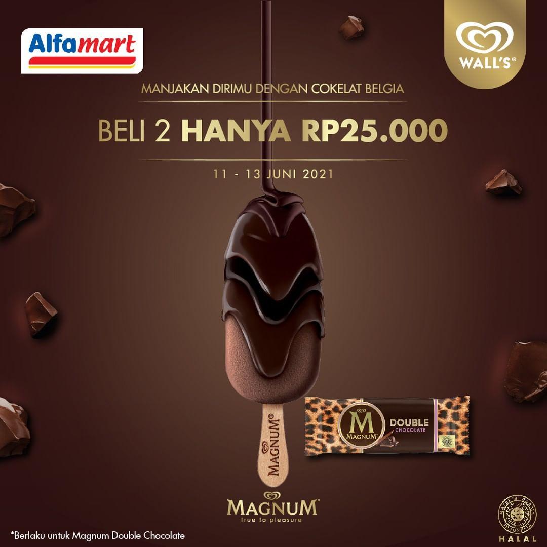 Promo ALFAMART BELI 2 MAGNUM DOUBLE CHOCOLATE cuma Rp. 25.000