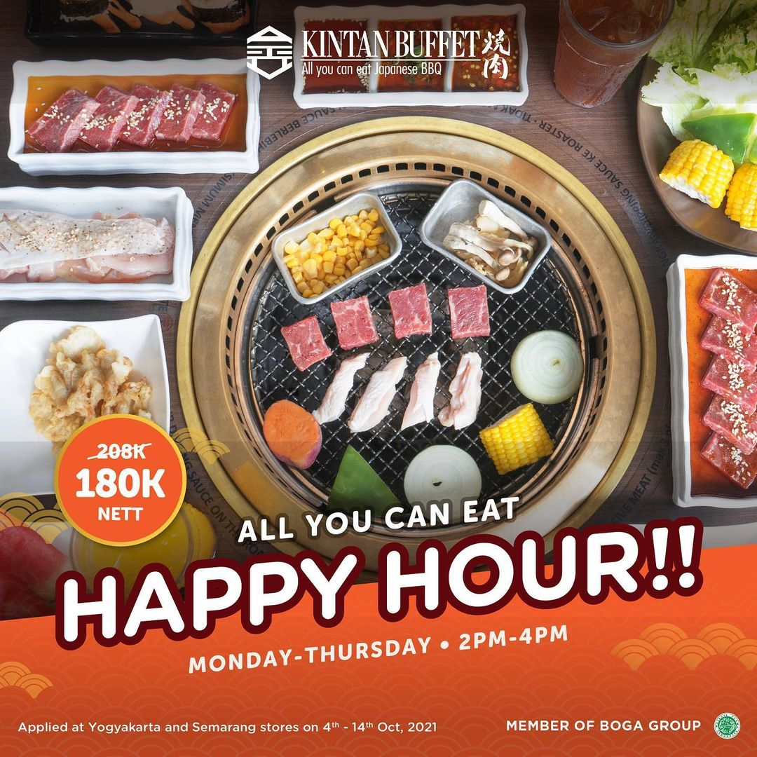 Promo KINTAN BUFFET HAPPY HOUR! All You Can Eat Japanese BBQ Hanya Rp. 180.000 nett berlaku setiap Senin - Kamis mulai tanggal 04-14 Oktober 2021 pk. 14.00-16.00 setiap harinya