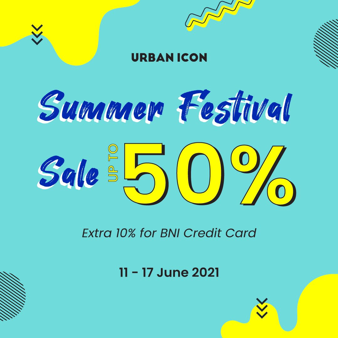 URBAN ICON Promo SUMMER FESTIVAL SALE - Discount Up To 50% + Extra Discount 10% for BNI Credit Card, berlaku mulai tanggal 11-17 Juni 2021