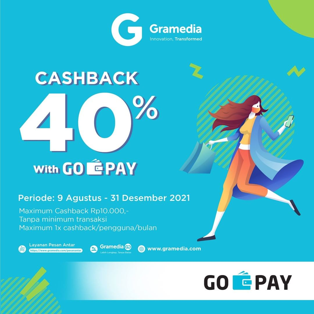 Promo GRAMEDIA - CASHBACK 40% untuk transaksi pakai GOPAY