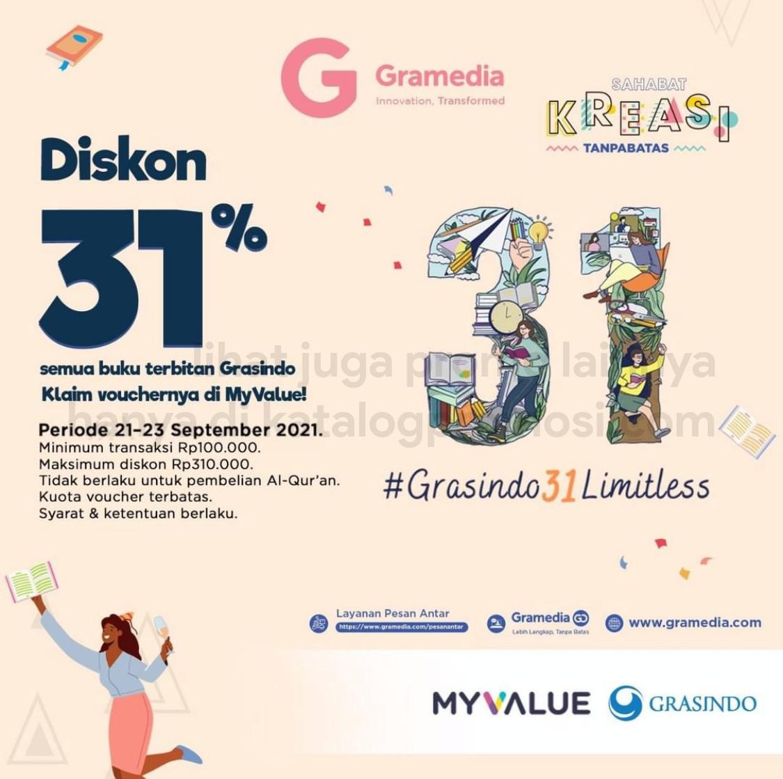 Promo GRAMEDIA DISKON 31% untuk Buku terbitan Grasindo Khusus Pengguna MY VALUE