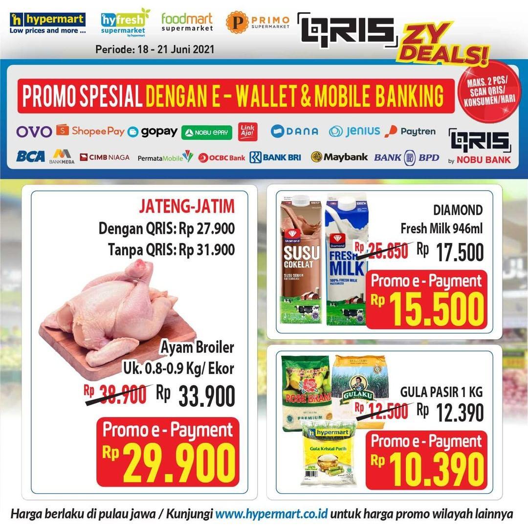 HYPERMART Promo HARGA SPESIAL bayar pakai E-Wallet dan Mobile Banking periode 18-21 Juni 2021