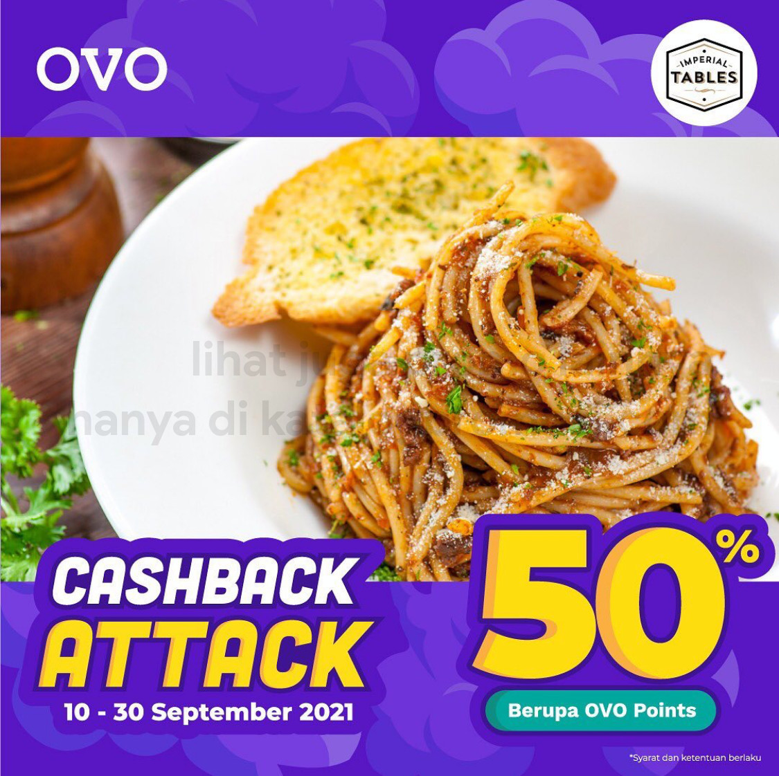 Promo IMPERIAL TABLES CASHBACK 50% untuk transaksi pakai OVO