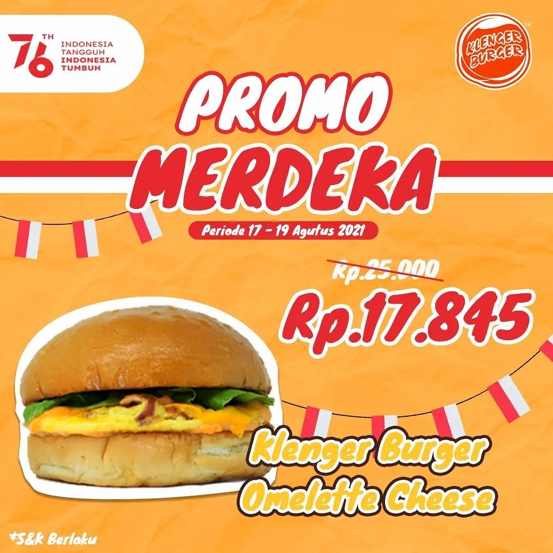 KLENGER BURGER Promo MERDEKA – Klenger Burger Omelette Cheese Hanya Rp 17.845!
