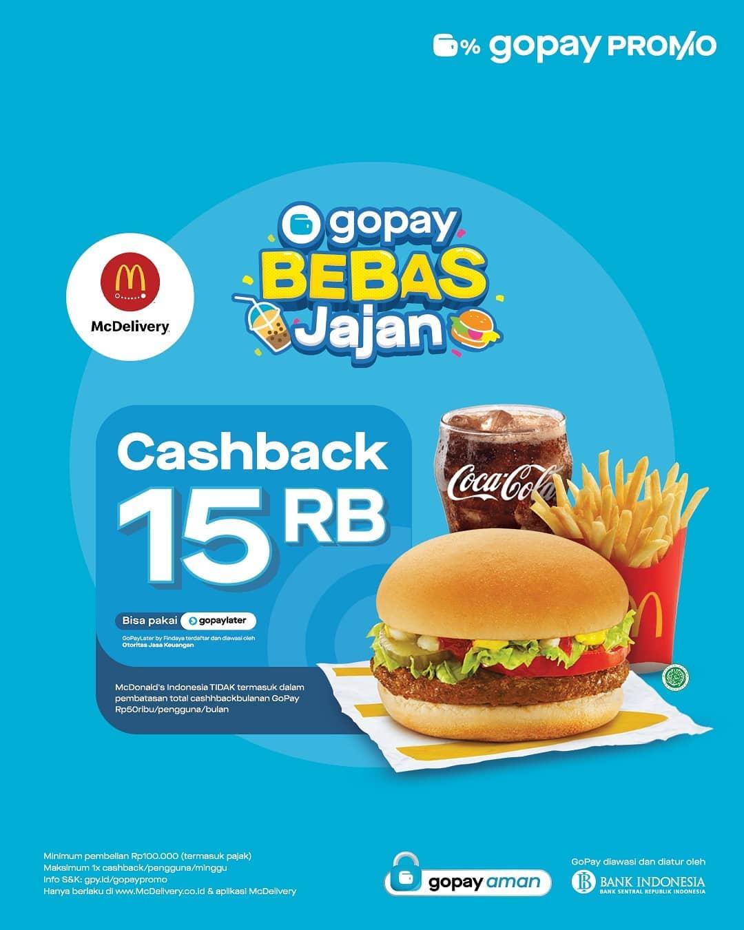 Promo McDONALDS CASHBACK Rp. 15.000 khusus transaksi pemesanan via McDelivery pakai GOPAY