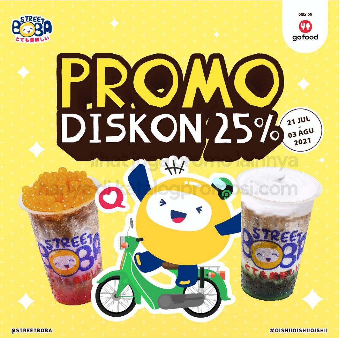 STREET BOBA Promo DISKON 25% untuk Pembelian Paket Minuman Pilihan via GOFOOD