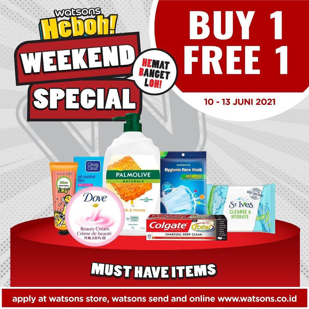 WATSONS Weekend Special (WES)  - Discount up to 55% off dan BELI 1 GRATIS 1